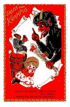 Krampus, Christmas, Krampus with Frightened Children, Funny Old Postcard Krampus Legend, Christmas Traditions In Germany, Satan, Retro Christmas Decorations, Bad Santa, Dark Christmas, Evil Twin, Old Postcards, Devil