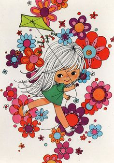 Vintage Postcard Seventies Flowerpower  by CuteEyeCatchers on Etsy,