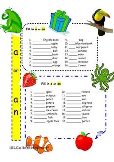 """An easy worksheet for beginners to practice the correct usage of 'a' and 'an.' One of the first grammar points that students learn and then keep forgetting. Maybe constant review in the beginning would prevent future errors such as """"a egg."""" - ESL worksheets"""