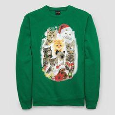 Fifth Sun Men's Cat Fleece w/ Bells Fleece Sweatshirt - Green Xxl Ugly Sweater, Ugly Christmas Sweater, Pullover Sweaters, Jeans And Sneakers, Graphic Sweatshirt, T Shirt, Kittens Cutest, Sweatshirts, Cats