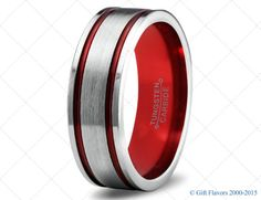Blue Tungsten Ring Red Men Tungsten Rings Red by GiftFlavors