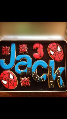 Spiderman Cookies~ No source, blue, red, letters