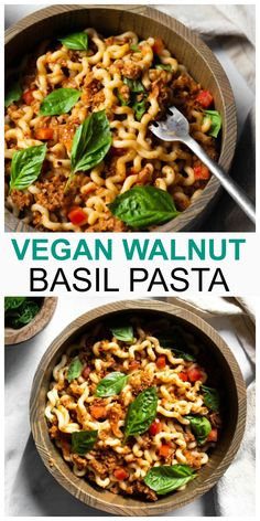 Vegan Walnut Basil Pasta is so meaty, full of flavor and ready in less than 30 minutes. Can be made gluten-free with pasta of your choice and is the perfect plant-based weeknight dinner! #vegan #walnut #basil #pasta #plantbased Rigatoni, Vegan Recipes Easy, Whole Food Recipes, Pastas Recipes, Dinner Recipes, Vegan Pasta, Vegan Food, Easy Baked Ziti, Basil Pasta