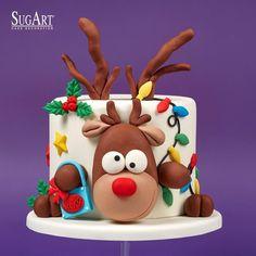 Christmas Themed Cake, Christmas Cake Designs, Christmas Cake Topper, Christmas Cake Decorations, Christmas Sweets, Christmas Baking, Bolo Halloween, Reindeer Cakes, Fondant Cake Designs