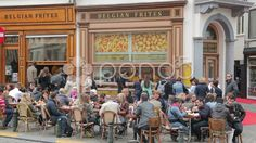 belgian frites shop, cafe, restaurant, brussels, belgium - Stock Footage | by Videostock50