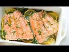 Our baked salmon recipe with lemon and dill takes less than 30 minutes and makes the most perfect tender salmon. By gently baking salmon in a small amount of liquid, the fish stays moist and tender. It practically melts in your mouth. Baked Salmon Lemon, Oven Baked Salmon, Baked Salmon Recipes, Lemon Recipes, Trout Recipes, Seafood Recipes, Meat Cooking Times, Cooking Recipes, Recipes