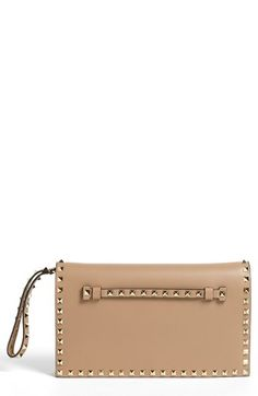 """Valentino 'Rockstud' Nappa Leather Flap Clutch available at #Nordstrom  11""""WX 6""""H"""