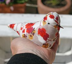 Lavender textile decorative bird made with Liberty fabric £12.00