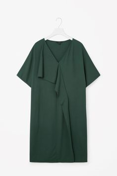 COS image 4 of Dress with asymmetric drape in Forest Green