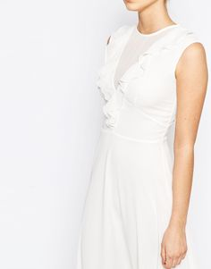 Image 3 ofElise Ryan Plunge Front Midi Skater Dress with Frill