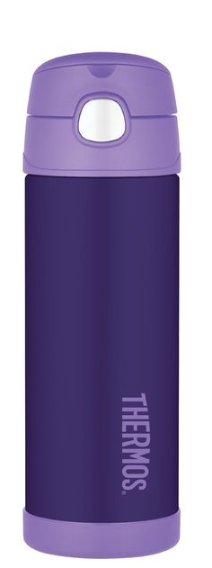 Thermos Funtainer 16 Ounce Bottle, Purple. THERMOS vacuum insulation technology for maximum temperature retention, not for use with hot liquids. Durable stainless steel interior and exterior. Hygienic push button lid with integrated carry handle. Keeps cold 12 hours. 16 ounce capacity; hand washing recommended.