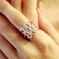 """Tangle"" Diamond Crossover Ring - Plukka - Shop Fine Jewelry Online"