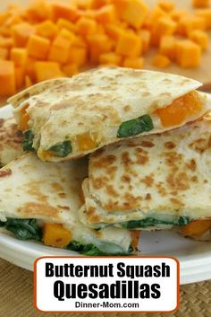 Butternut Squash Quesadillas Recipe with Spinach and Mozzarella Cheese. Vegetarian, easy, 5 Ingredient recipe that takes 30 minutes to make! Vegetarian Recipes Dinner, Lunch Recipes, Easy Dinner Recipes, Baby Food Recipes, Cooking Recipes, Healthy Recipes, Toddler Recipes, Healty Meals, Vegetarian Options