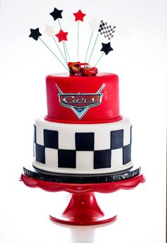 Disney Cars Cake - Looking for Cars Birthday Cake Ideas? See our photo gallery for inspiration and ideas. There are lots of amazing and cool cakes to spark your imagination. Disney Cars Cake, Disney Cars Party, Disney Cars Birthday, Disney Cakes, Car Party, Disney Theme, Car Themed Parties, Cars Birthday Parties, Cake Birthday