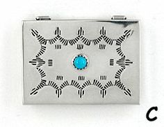Navajo sterling silver box with turquoise stone