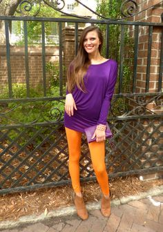Perfect game day outfit! Purple Liquid Love 2 Tunic Top & Orange leggings from Sassy Shortcake Boutique #clemson #gameday
