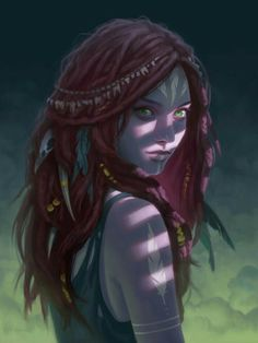 Female Elf Shaman - Pathfinder PFRPG DND D&D d20 fantasy