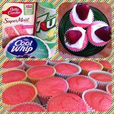 Lite Strawberry Cupcakes!  Less than 100 calories each ^_^ Replace all ingredients on package with 12oz Diet 7-up and bake as directed.