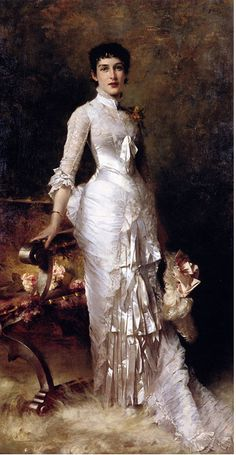 Young beauty in a white dress,  Gemälde von Stewart Julius (6. September, 1855 in Philadelphia, Pennsylvania )