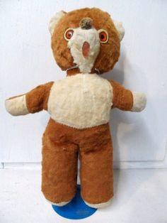 Old TEDDY BEAR Rusty Brown and Cream Fur Orange Eyes Musical via Orphaned Treasures Etsy
