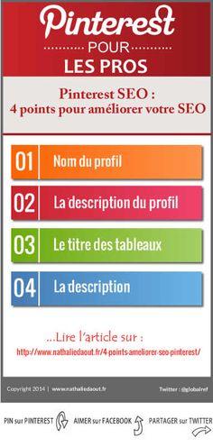 4 points pour améliorer votre SEO sous Pinterest. Lire : http://www.nathaliedaout.fr/4-points-ameliorer-seo-pinterest/