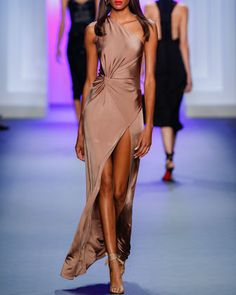 One-Shoulder+Twisted-Waist+Gown,+Pink+by+Cushnie+Et+Ochs+at+Neiman+Marcus.