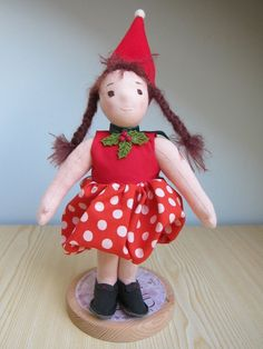 Soft Fabric Doll, Baby Doll Kiki the strawberry girl, Waldorf inspired, Soft doll OOAK Baby Girl Headbands, Baby Girl Gifts, Baby Bows, Dwarf Hat, Creative Christmas Gifts, Doll Shop, Soft Dolls, Collector Dolls, Fabric Dolls