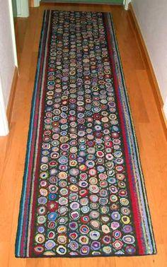 Large Primitive Style Hand Hooked Wool Rug Hallway Runner Americana Cheryldeckerdavis Pinterest