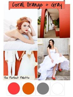 The Perfect Palette: {Color Your Wedding Beautiful}: Coral, Orange + Gray