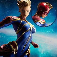Carol Danvers soars into the stars with the Captain Marvel Premium Format Figure, featuring two different looks for the former Ms. Many heroes have Captain Marvel Carol Danvers, Ms Marvel, Real Hero, Power Girl, Marvel Universe, Mantle, Dragons, Action Figures, Illustration Art