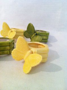 Vintage ceramic butterfly bamboo napkin rings yellow by Comforte, $18.00
