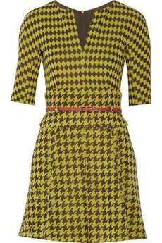 M Missoni Belted houndstooth-print knitted mini dress | THE OUTNET