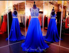 Royal Blue Prom Dress-High Beaded Neck-Open Back-Only at Rsvp Prom and Pageant, Atlanta, GA