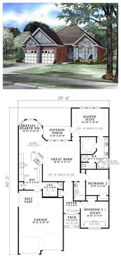 4 room house plans home plans homepw26051 2 974 square for Rear master bedroom house plans