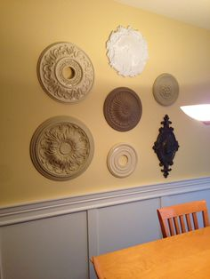 Ceiling Medallion Wall Art ceiling medallions as wall art. use high gloss white spray paint