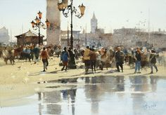 【威尼斯都是人 / The Crowd in Venice 】26 x37 cm  watercolor Demo by Chien Chung Wei