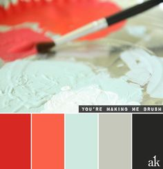 Love this colour palette- a paintbrush-inspired color palette // red, papaya, blue, gray, black