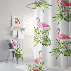 Pink & green flamingo shower curtain, pink and green bathroom. Modify your shower curtain to one of these attractive designs! Find some stunning See more suggestions concerning Shower room cleansing hacks, Shower lining and Bath tub bath beyond curtains Decor, Modern White Bathroom, Tropical Shower Curtains, Black Bathroom, Green Bathroom, Lime Green Bathrooms, Tropical Bathroom, Bathroom Decor, Cute Wall Decor