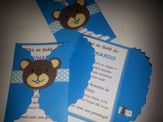 Convite de chá de bebê Tema: Urso Parte interna e externa