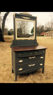 Beautiful antique dresser painted in Maison Blanche chalkpaint, confederate gray & vanille w/ dark wax by Karla of Hart & Soul Designs.