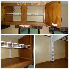 "Awesome Idea!!!...The Pinner Stated: ""We Used One 6ft Long Linen Shelf (Wire Shelves) With Two Rubbermaid Twin Track And Two Track Brackets. The Twin Tracks Have A 3/4 Depth. We Used 1 3/4 Wood Screw; We Placed The Tracks Where We Found Bracing/Studs In The Trailer Wall. It Was A Great Project Very Simple. All The Products Were Purchased At Home Depot.""…NOTE: No Link…"