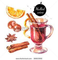 Watercolor mulled wine and spices set. Merry Christmas and Happy New Year…