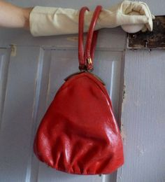 1950s Red Leather Triangle Purse $36.00