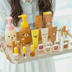 This Japanese beauty collection is every Rilakkuma lovers' dream! Who is your favorite kawaii character? Rilakkuma, Kawaii Makeup, Cute Makeup, Skin Makeup, Beauty Makeup, Kawaii Room, Korean Makeup, Kawaii Cute, Kawaii Stuff