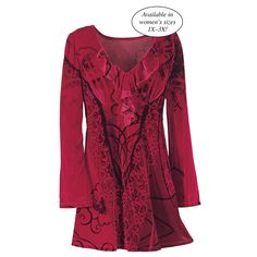 Celtic Velvet Top - Available today at Catalog Favorites. Shop for casual and novelty clothing, T-shirts, accessories, jewelry & décor. Unique Clothes For Women, Kinds Of Clothes, Lace Tops, Chiffon Tops, Lace Jacket, Velvet Tops, Red Velvet, Lace Sleeves, Beautiful Outfits