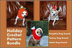 3 Holiday Dog Snood Crochet Patterns Crochet by poshpoochdesigns