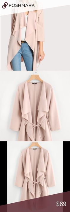 """Blush Draped Over-Coat Lightweight but Chic & Elegant. Perfect """"topper"""" to wear over your favorite jeans and top.   Blush Color. Belted.  Material : 95% Polyester, 5% Spandex Shoulder(cm) : XS:39, S:40,M:41, L:42 Bust(cm) : XS:92, S:96, M:100, L:104 Sleeve Length(cm) : XS:46, S:47,M:48, L:49 Length(cm) : XS:94, S:95, M:96, L:97 Bicep Length(cm) : XS:32, S:33, M:34, L:35 Waist Size(cm) : XS:89, S:93, M:97, L:101 Cuff(cm) : XS:28, S:29, M:30, L:31  Sells out very quickly! Jackets & Coats…"""