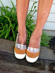 Lace Boat Socks - Lacey Peep Socks - Invisible Lace Socks for Flats, Pumps, Heels or Sandals. $10.50, via Etsy.
