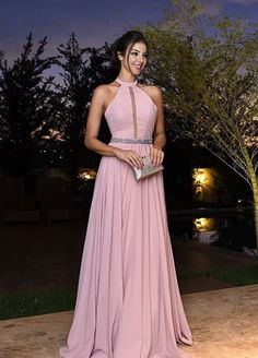 Simple pink chiffon A line long prom