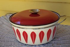"""Stunning Super Rare Cathrineholm REAL Red and White Lotus Enamel 10.5"""" Pot with Lid Midcentury Modern (325.00 USD) by retrowarehouse"""